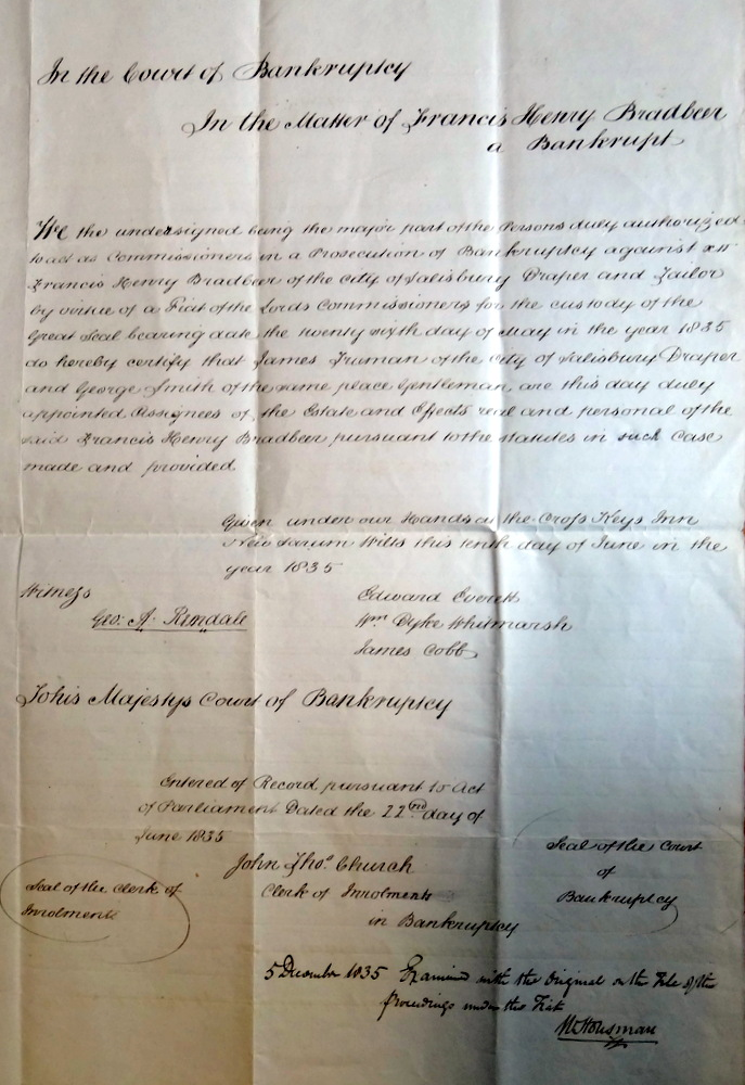 1835 A letter relating to Frances